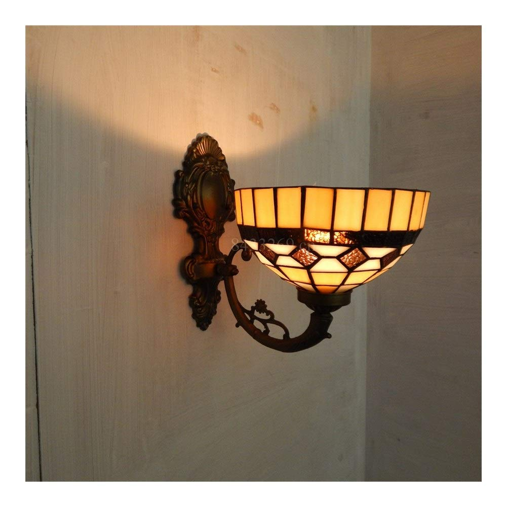 Soft Lighting Wall Chandelier with Stained Glass for Home Decoration European Style Floral Design 8inch Handmade Handmade (Color : 8S30-16W14)