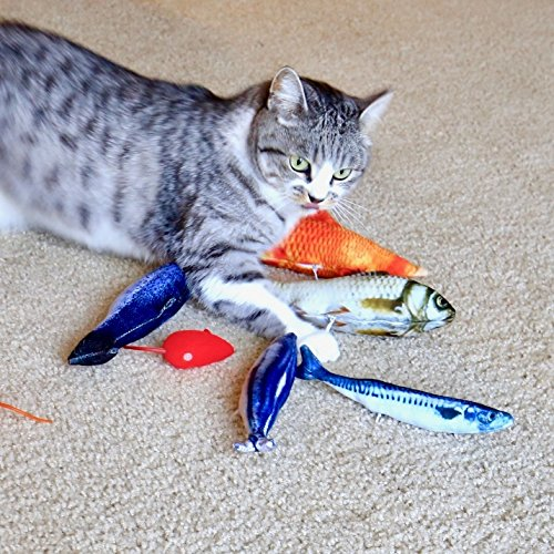 Youngever 7 Cat Toys Assortment with 5 Refillable Catnip Fish Cat Toys and 2 Catnip Fur Mouse Cat Toys, Extra Catnip for Refill, for Cat, Puppy, Kitty, Kitten, Ferret, Rabbit 6
