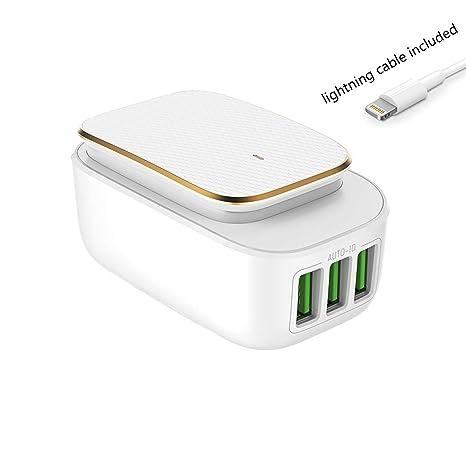 Cargador de luz nocturna inteligente, 3 puertos USB ...