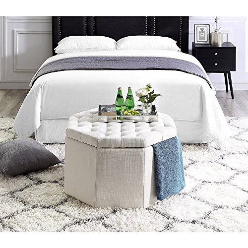 Inspired Home Silvia Cream Linen Storage Ottoman - Cocktail Coffee Table | Upholstered Tufted | Modern Octagon