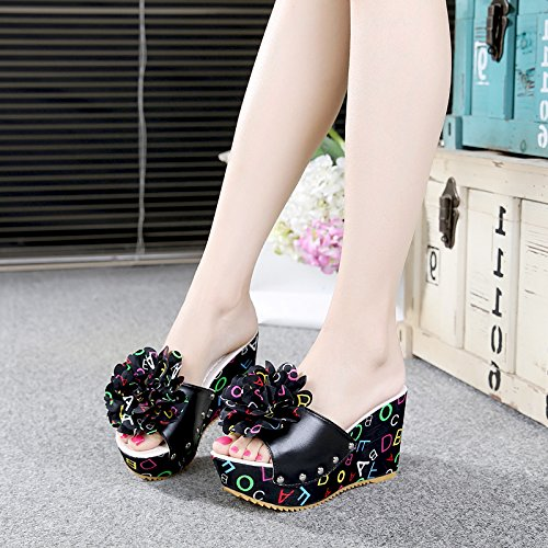 KHSKX-The New Summer Floral Cloth Soled Slippers With Super High Slope Platform All-Match Rome Female Slippers Word Drag Black vYCLVWOyrO