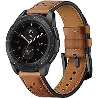 Jasinber 22mm Correa de Piel Genuina Banda de reemplazo para Samsung Gear S3 Frontier/Classic/Samsung Galaxy Watch 46mm (Marrón)