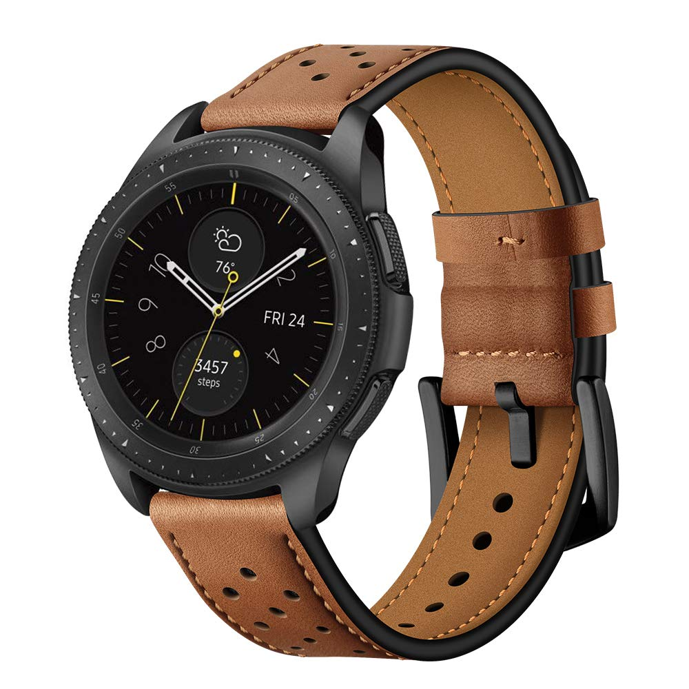 BONSTRAP Quick Release Brown Leather Watch Bands 20mm Compatible with Samsung Galaxy Watch 42mm/Samsung Gear Sport/Samsung Gear S2 Mens Womens by BONSTRAP