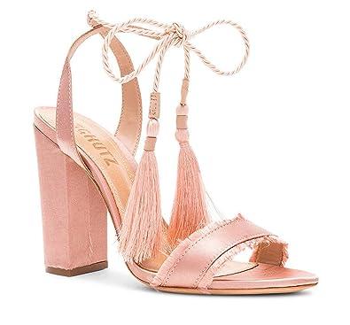 4d30293e714 SCHUTZ Primm Peach Pink Satin Lace Up Block Heel Open Toe Tie Up Dress  Sandals (