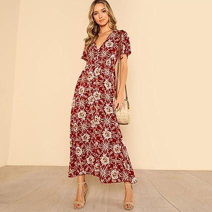 03871b90cf1f Image Unavailable. Image not available for. Color  Hemlock Long Boho Dress  Women Summer Floral Print Beach Sundrss Split V-Neck ...