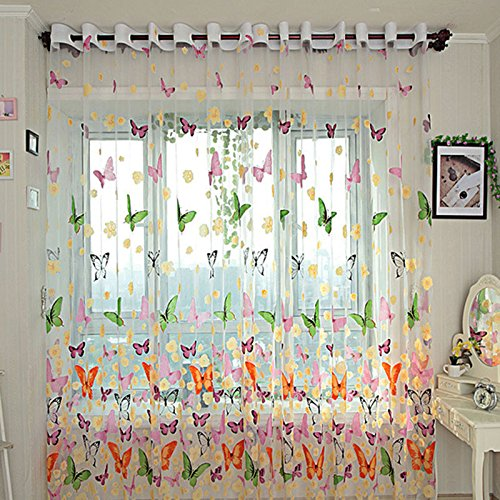 Printed Sheer Voile Window Screening for Door Balcony Window Drape Valances Starworld Floral Butterfly Tulle Curtain