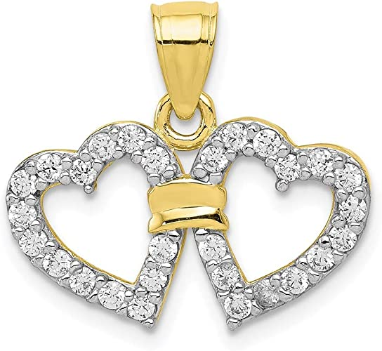 10k Yellow Gold Pink and White Cubic Zirconia Double Heart Pendant