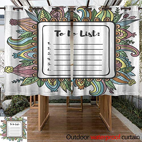 RenteriaDecor Home Patio Outdoor Curtain Printable to Do List Page Floral Decoration W84 x -