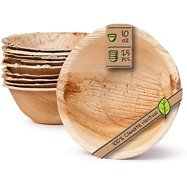 """25 Pack 10/"""" Oval Biodegradable Disposable Small Dinnerware Bulk Set Events Plates for Weddings Eco Friendly Naturally Chic Palm Leaf Compostable Plates BBQs Parties"""