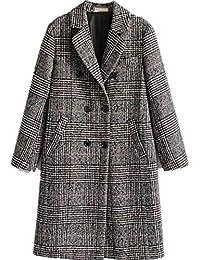 Women Classic Lattice Winter Overcoat Lapel Double Breasted Woolen Long Coat