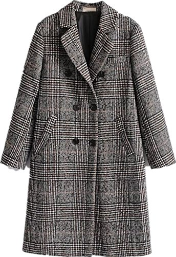 Women Classic Lattice Winter Overcoat Lapel Double Breasted Woolen Long Coat