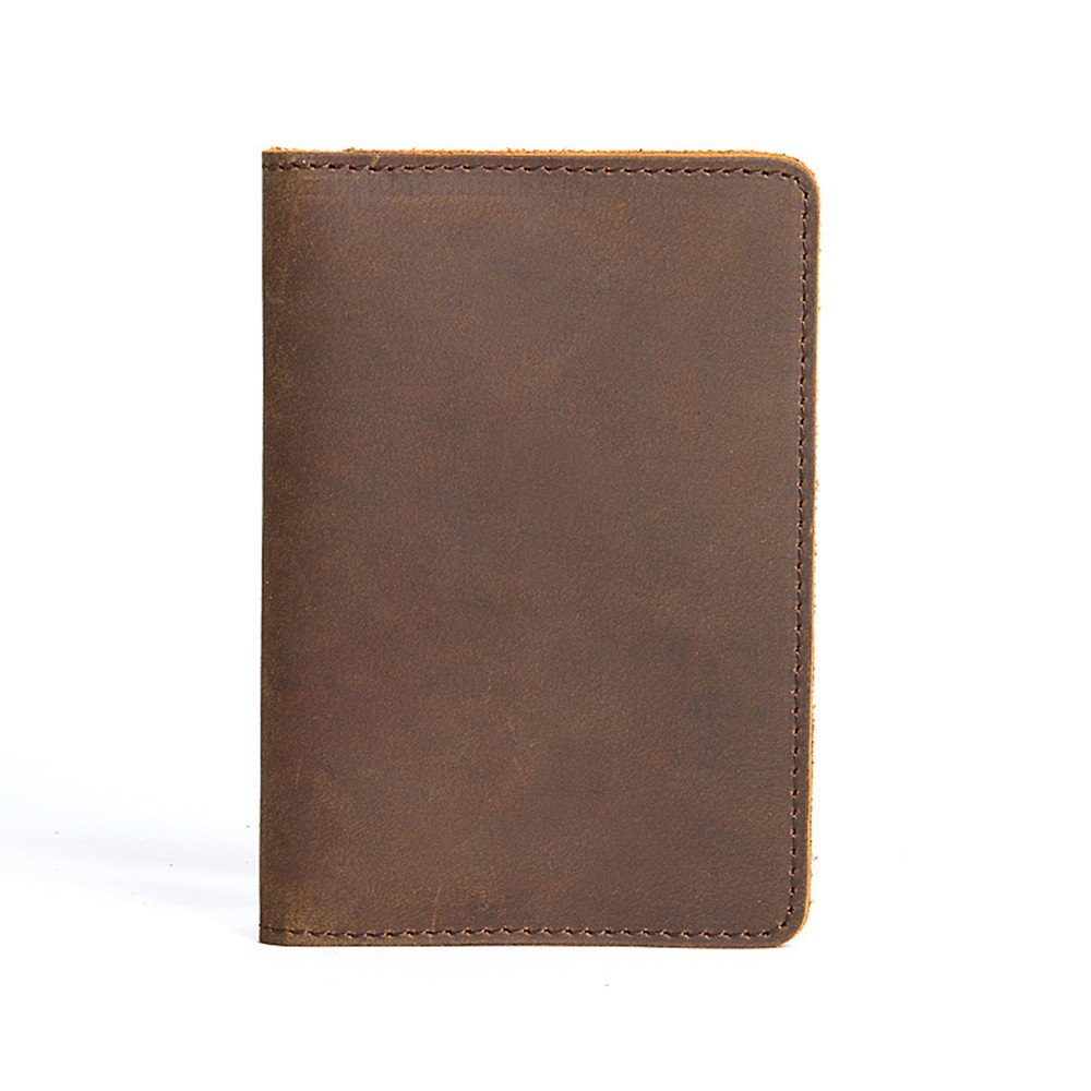 Wallet Leather Passport Bag, Portable Card Clip, Chuck Leather, Vertical Leather Bag, Dark Brown.