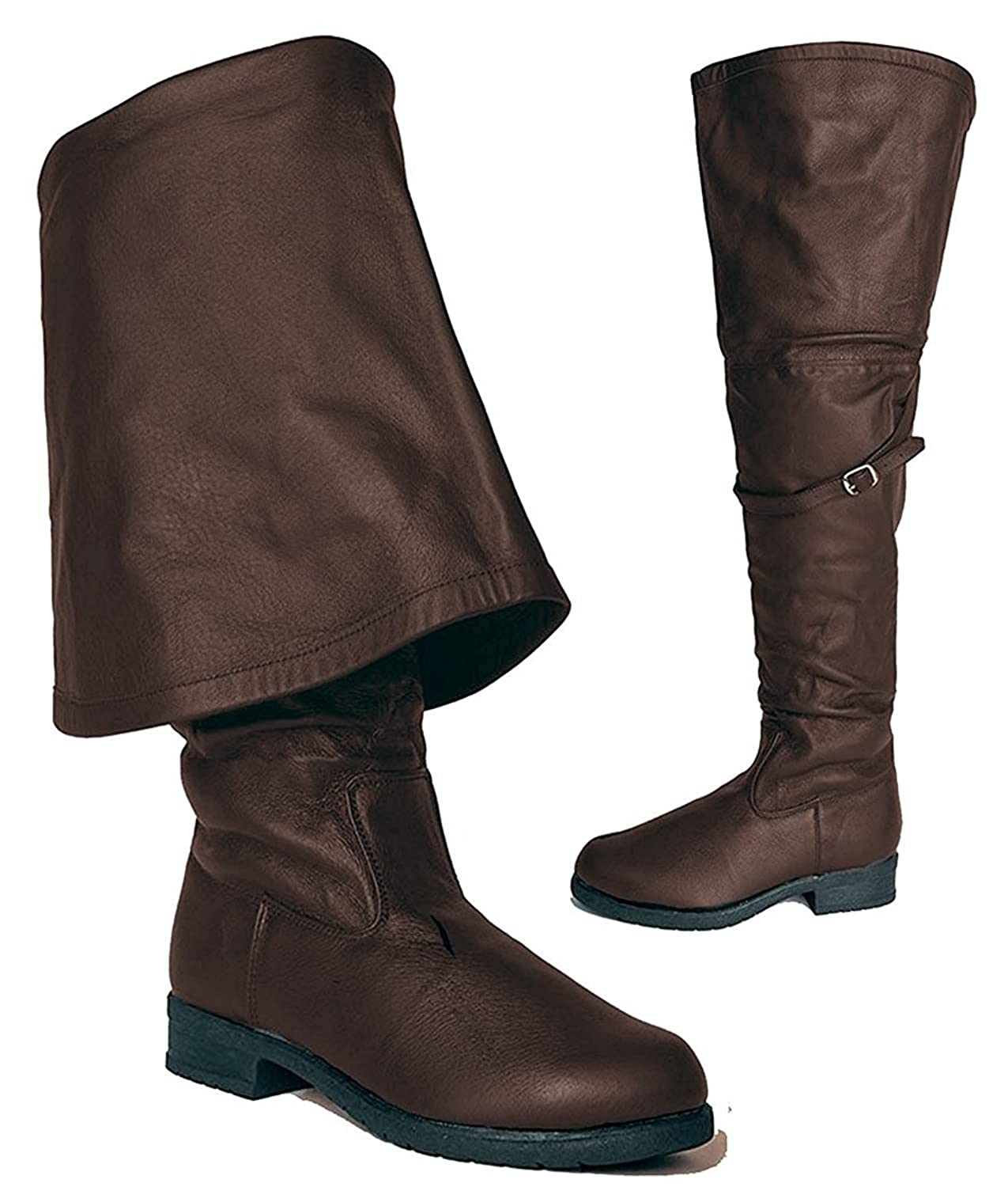 Mens Knee High Pirate Boots Brown Halloween Accessory