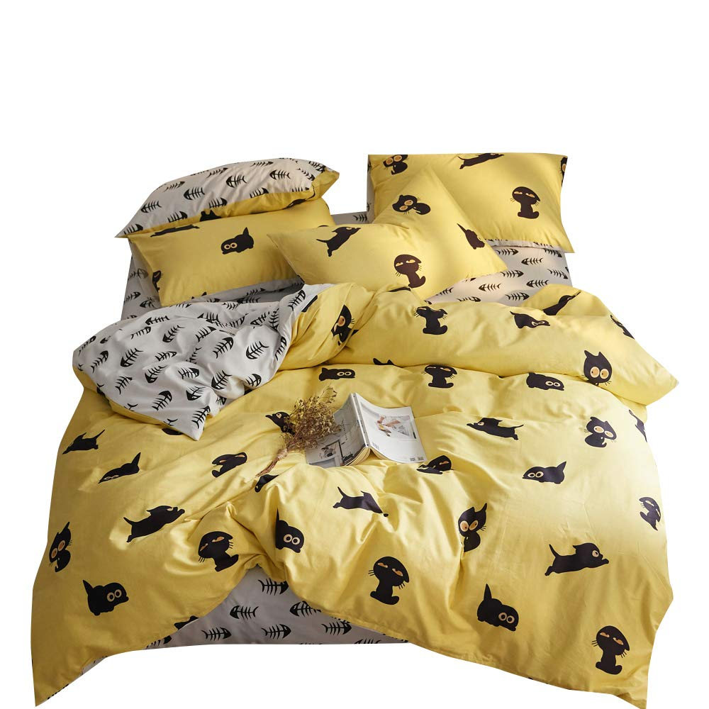 Lovely Kitty Yellow White Full Kids Boys Girls Bedding Duvet Cover Set Black Cat Pattern 100% Cotton Queen Bedding Collections for Children Teen Adults