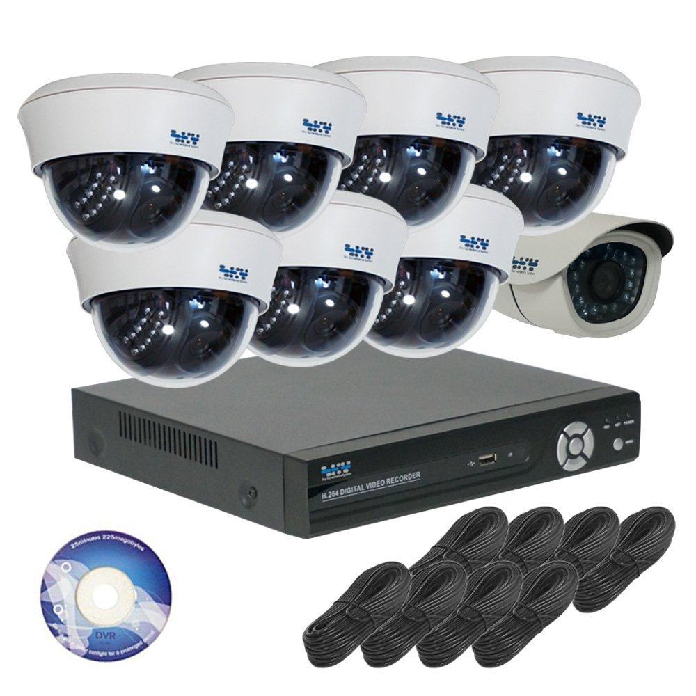 130万画素 防犯カメラ セット ( 屋外カメラ 1台 + ドーム型 7台 + 録画機 1TB ) SET-A381 白 [3年保証] B01E4UBTUQ  ドーム7