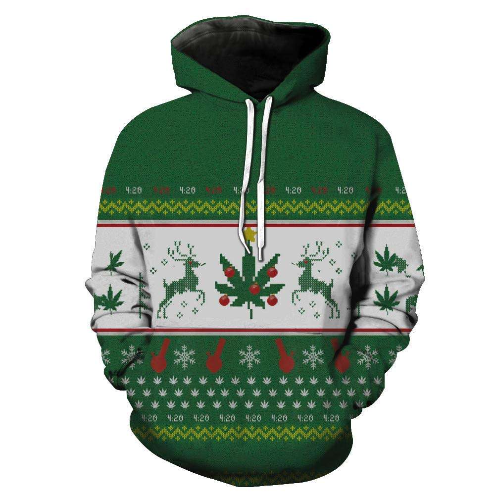 Bokeley Unisex Christmas Pockets Pullover Hoodie Hooded Sweatshirts Hoodies