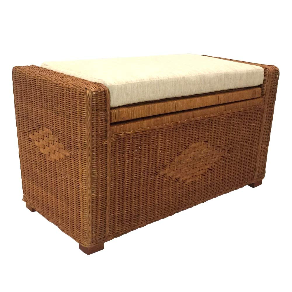 Kotlette Natural Rattan Wicker Handmade Chest Storage Trunk Ottoman Patio Bench with Beige Cushion | Model Adam | Size 32 Inch | 5 Colors (Light Brown) by Kotlette
