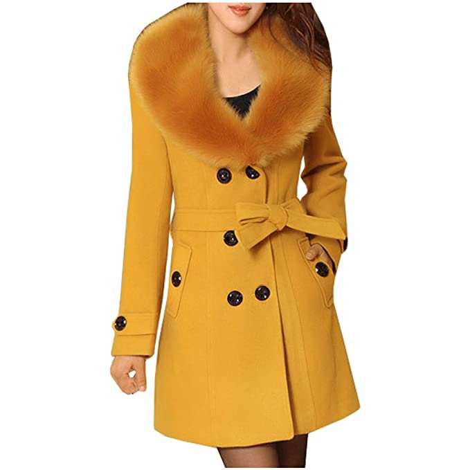 b50eb2004f82a Partiss Women's Wool Trench Coat with Fur Collar,Chinese 4XL,Yellow ...