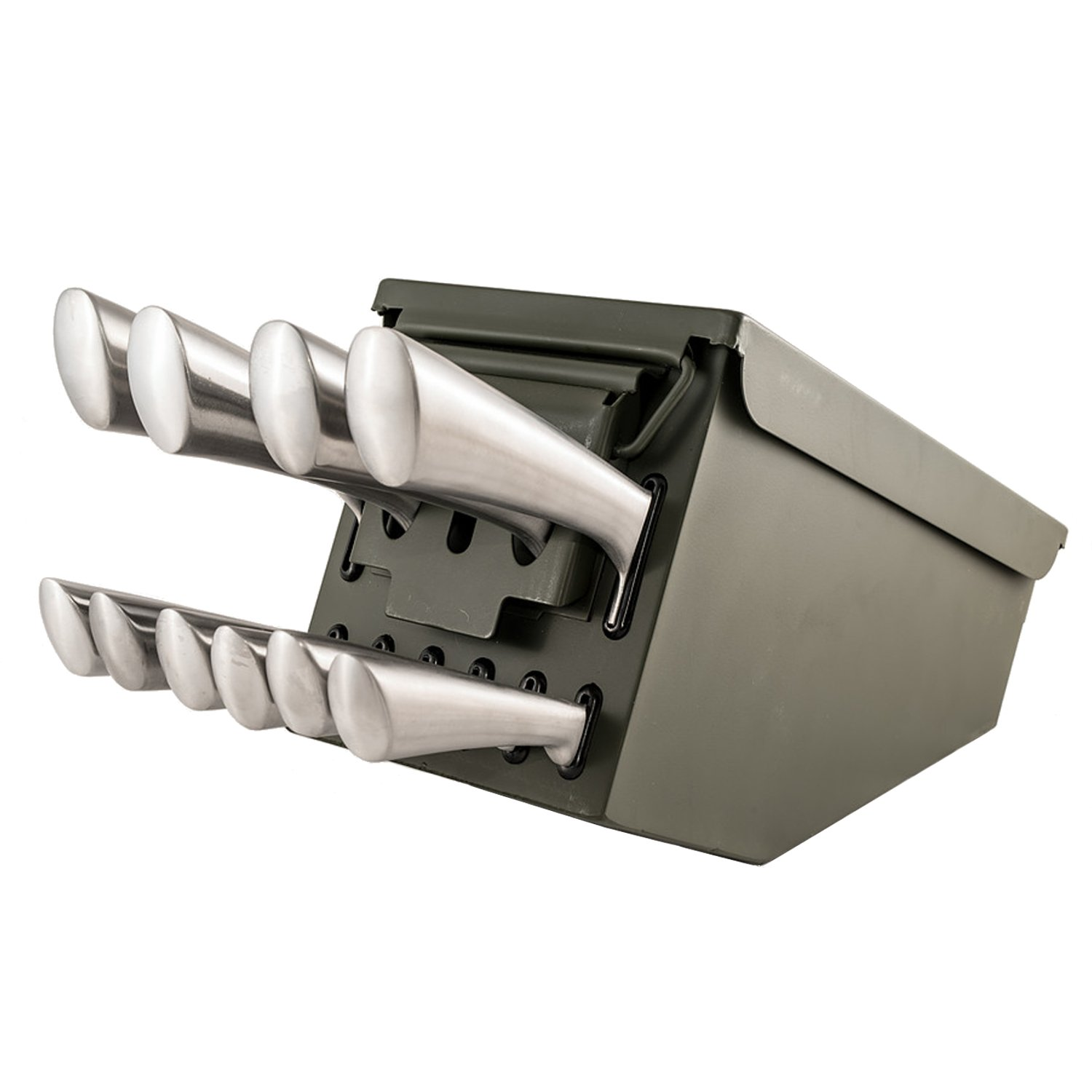 Tactical Overlord 10 Piece Ammo Can Box Knife Block Cultery Set Utility Storage Organizer