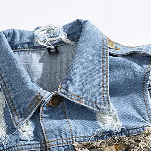 Grande Mezclilla Jeans Denim Manga Gris Byqny Hombre Arrancado qf66nx