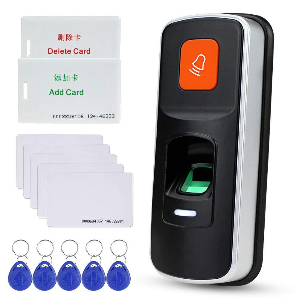 NN99 RFID autónomo Sistema de control de acceso por huella dactilar Lector biométrico 125 KHz Puerta Abrelatas Controlador Soporte Tarjeta SD Wiegand26 + 10pcs Tarjetas EM Llaveros