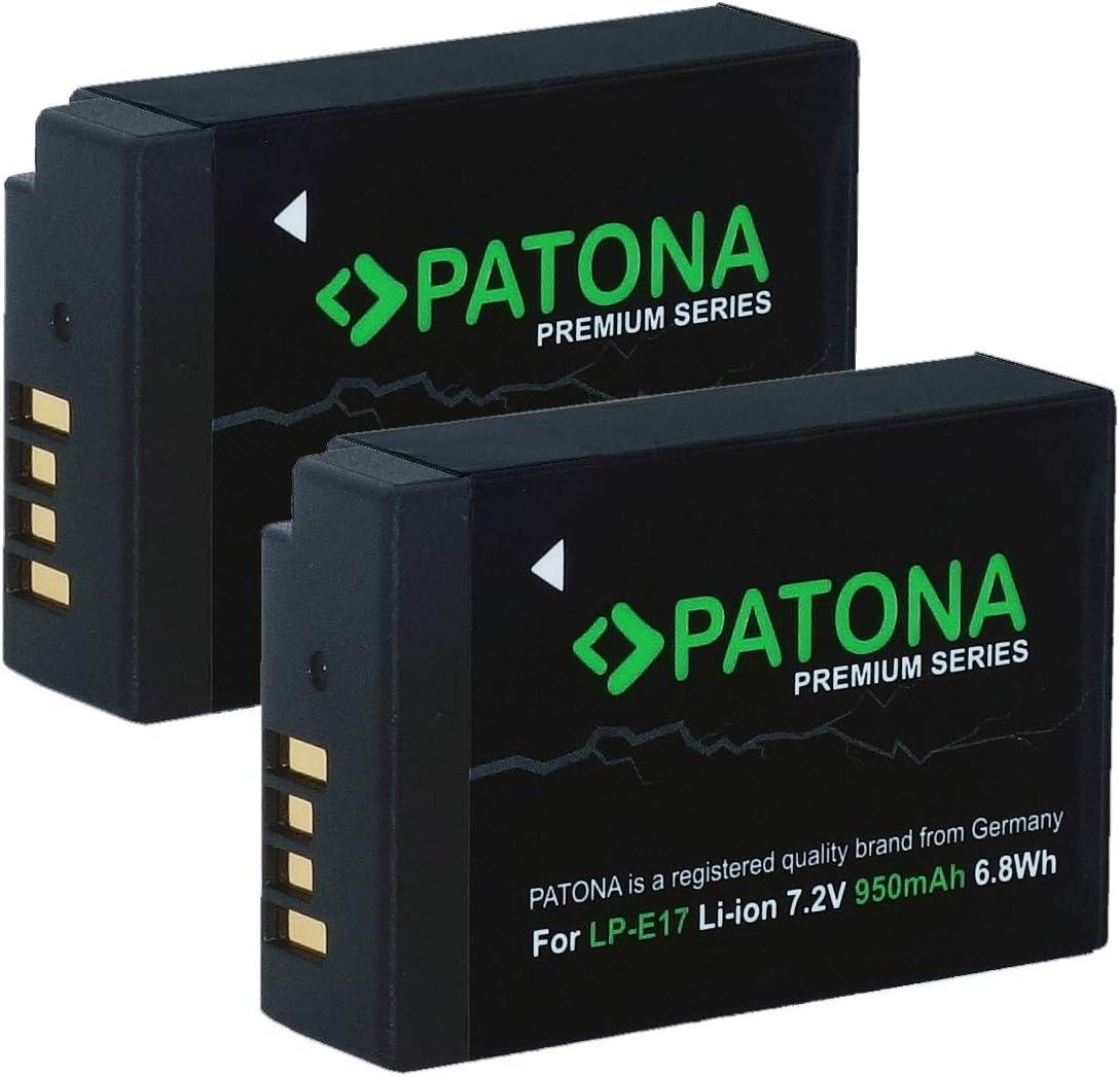 2 x lp-e17 batería para Canon EOS 250d Cargador dual USB patonas para