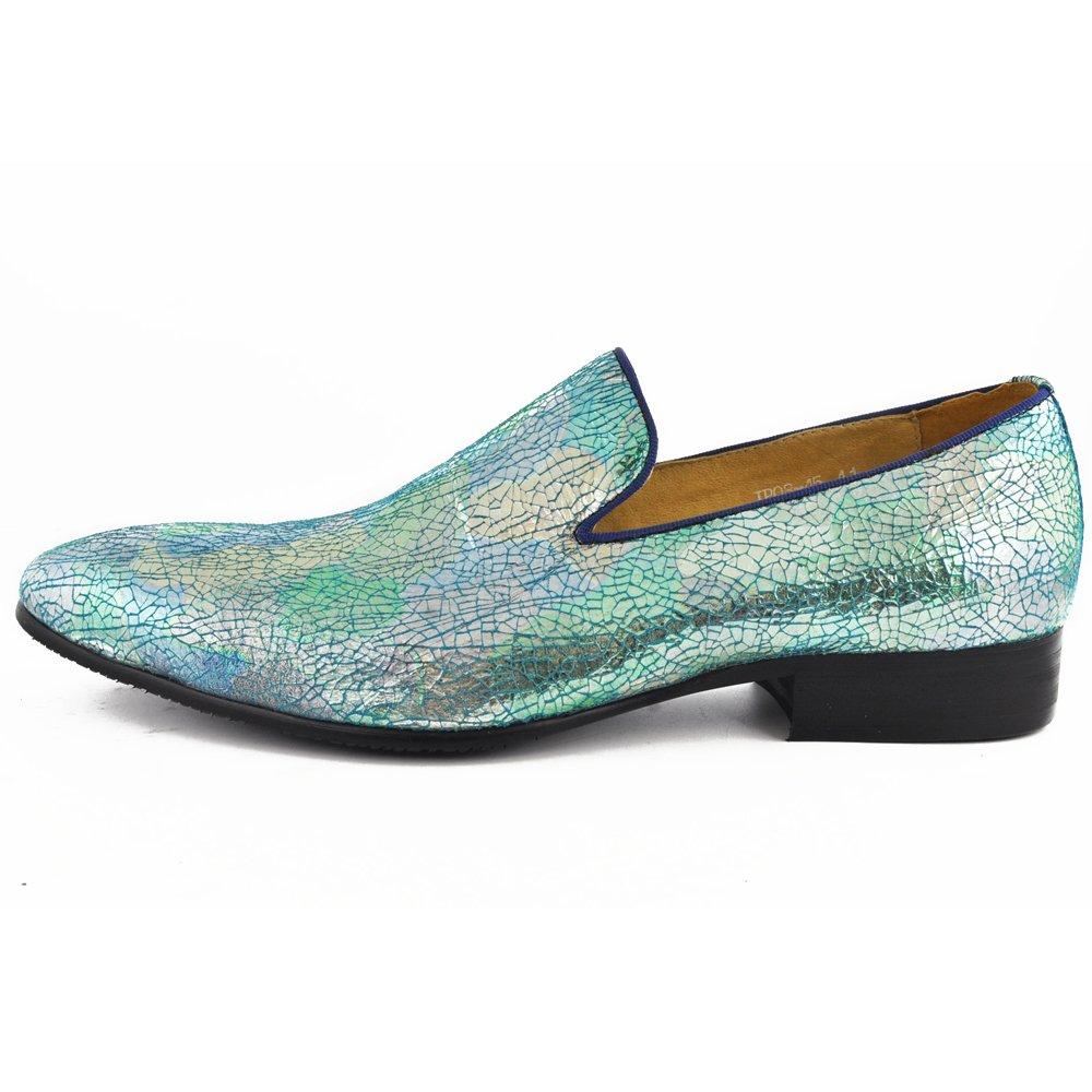 Zapatos mocasines de hombre de piel auténtica y textura metálica con purpurina 11 D(M) US|Multicolor