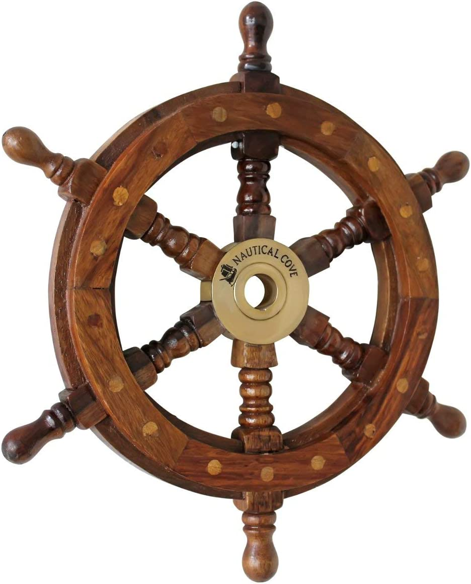 "18/"" Nautical Wooden Ship Steering Wheel Pirate Decor Brass Fishing Wall Boat"