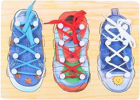 Toyvian 1 Pieza Juguete de Zapatos de Madera Juguete de Cord/ón Juguetes Educativos para Ni/ños