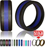 Knot Theory Silicone Wedding Rings Bands for Men Women in Silver, Gold, Grey, Blue - Non-bulky Band by Award-winning Designer - Best Quality, Style, Safety, Comfort - Ideal for Travel, Work, Exercises
