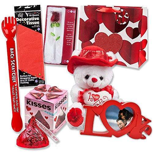 Forever Chocolate (Valentines Gifts 7 Piece Bundle Set Includes Gift Bag, Love Picture Frame, 11