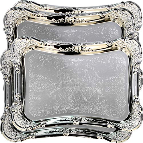 (Maro Megastore (Pack of 4) 19.3-Inch x 13.8-Inch Special Rectangular Chrome Plated Serving Tray Floral Edge Engraved Glossy Decorative Wedding Birthday Buffet Party Food Snack Platter Plate Tla-020)