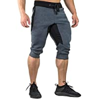 St. Lun Men's Cotton Casual Shorts 3/4 Jogger Capri Pants Breathable Below Knee Home Lounge Short Pants with Three Pockets (Color : Gray(mesh), Size : 34)