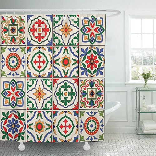 Emvency Shower Curtain Blue Spanish Gorgeous White Colorful Moroccan Portuguese Tiles Azulejo Ornaments Pattern Fills Mosaic Waterproof Polyester Fabric 72 x 72 Inches Set with Hooks