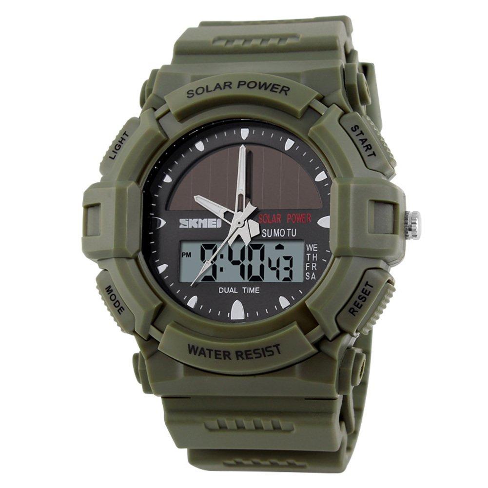 Relojes solares/Moda electrónica dual resistente al agua al aire libre deporte watch de men/Actual estudiante relojes-verde del ejército: Amazon.es: Relojes