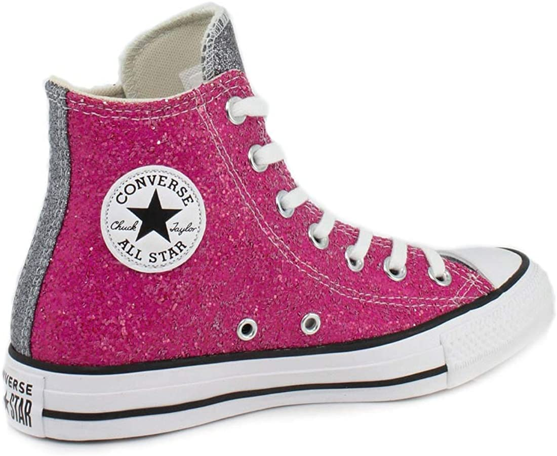 Converse Chuck Taylor All Star Hi Glitter RosaSilber Synthetik Erwachsene