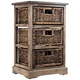 Cheap American Art Décor Three Drawer Wicker Basket Bedside, End, Nightstand Table Storage Cabinet – Vintage Country Farmhouse Décor