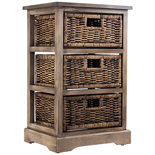 American Art Decor Rustic Farmhouse Styled Three Drawer Wicker Basket Side End Table Nightstand/Table Cabinet for Storage by Millennium Art