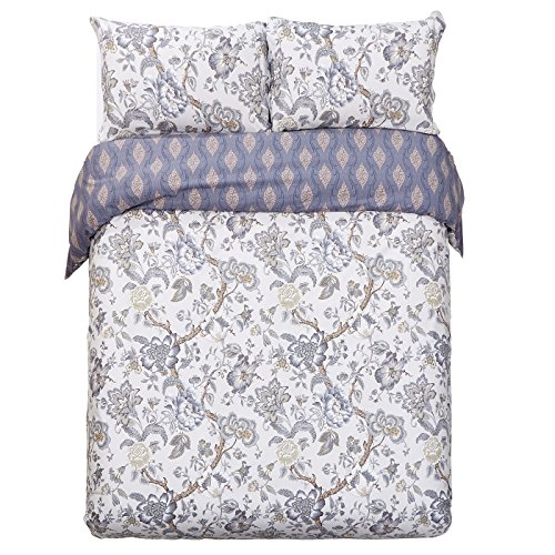 Word of Dream 250TC 100% Cotton Floral Print Duvet Cover Set 3 PC, Full/Queen, Blossom Pattern
