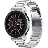 V-MORO Metal Strap Compatible with Galaxy Watch 46mm Bands/Gear S3 Classic/Frontier Band with Clips No Gaps Solid Stainless S