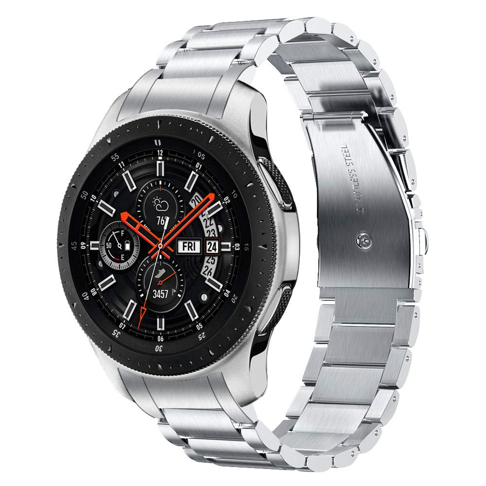 V-MORO Metal Strap Compatible with Galaxy Watch 46mm Bands/Gear S3 Classic/Frontier Band with Clips No Gaps Solid Stainless Steel Bracelet for Samsung Galaxy Watch 46mm R800/Gear S3 Smartwatch Silver by V-MORO