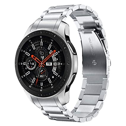 V-MORO Metal Strap Compatible with Galaxy Watch 46mm Bands/Gear S3 Classic/Frontier Band with Clips No Gaps Solid Stainless Steel Bracelet for Samsung ...