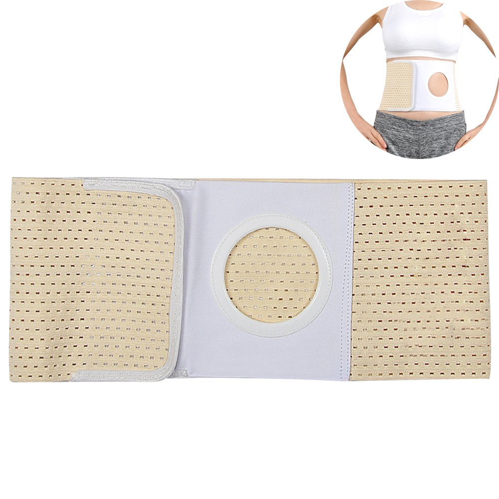 Ibnotuiy Cotton Soft Waist Support Belt Ostomy Hernia Belt Abdominal Binder Brace with Stoma Opening 3.54 inch Hole (Yellow, L)