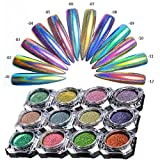 #1: CHARMING MAY 0.2g Peacock Holographic Chameleon Nail Art Chrome Pigment Glitters Mirror Nail Powder(Peacock Holographic powder)