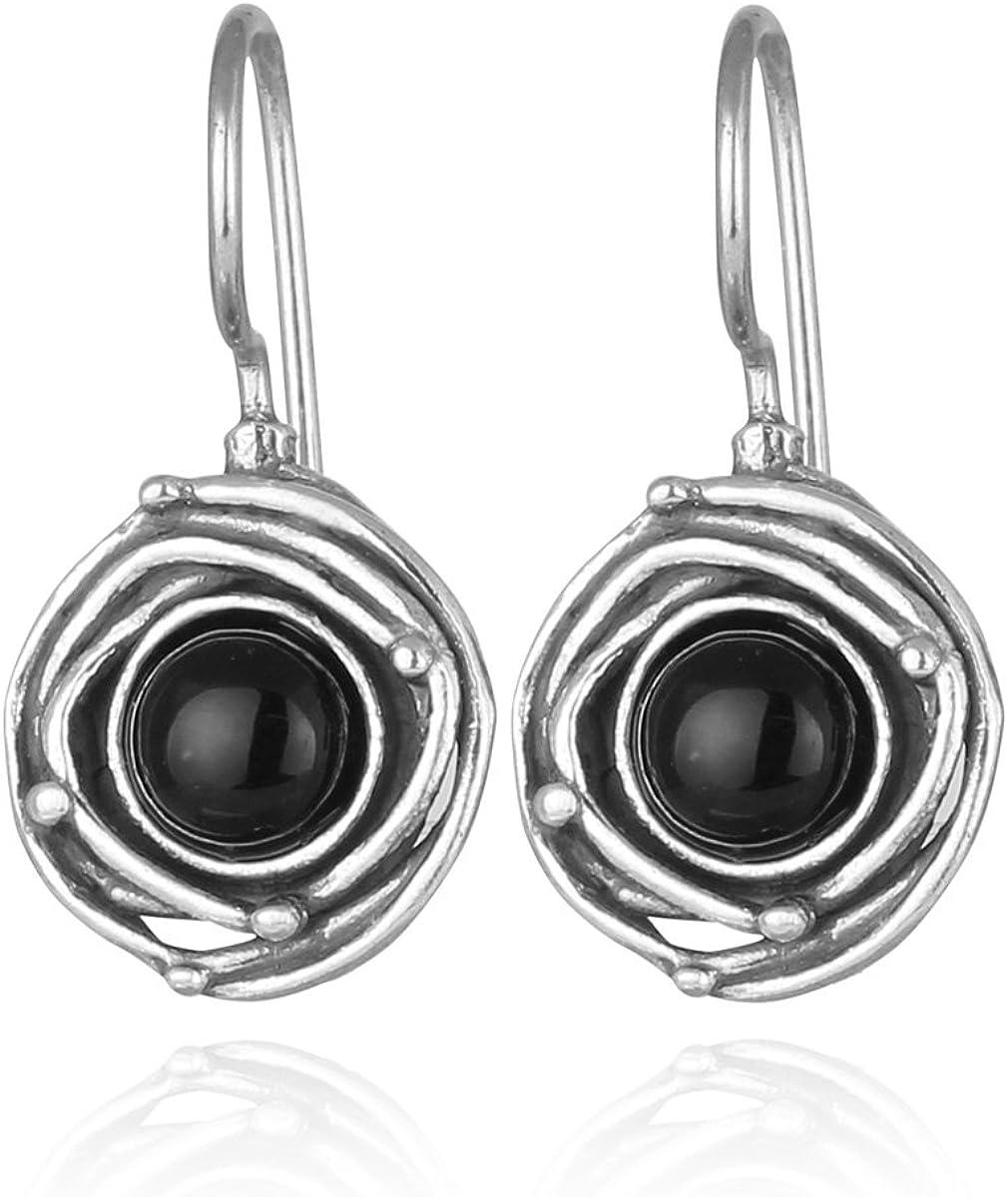 Stera Jewelry - Pendientes de plata de ley 925 con diseño de espiral, color negro
