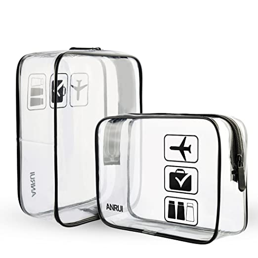 9e079502a15e Amazon.com  (2 Pack) Clear Toiletry Bag TSA Approved Travel Carry On  Airport Airline Compliant Bag Quart Sized 3-1-1 Kit Travel Luggage Pouch  (Black)  ...