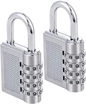 Combination Padlocks 2 Pack 4 Dial Code Padlocks for Gym School Lockers Case,