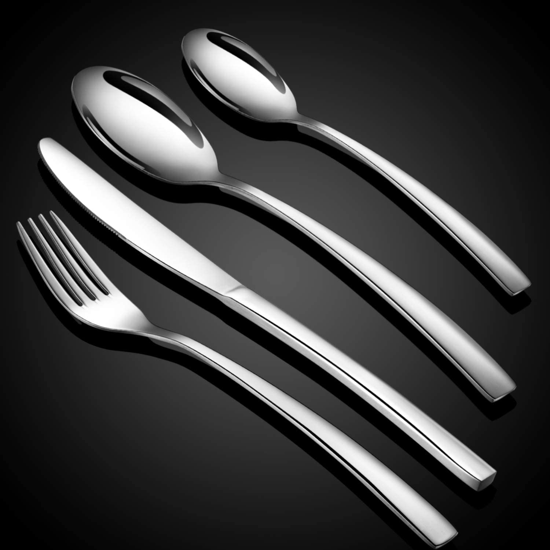 WUJO Set de Cubiertos, 16 Unidades Cubiertos de Acero Inoxidable/Juego de Cubiertos para 4 Personas, Incluye Cuchillo/Tenedor/Cuchara/Cucharilla de Plata: Amazon.es: Hogar