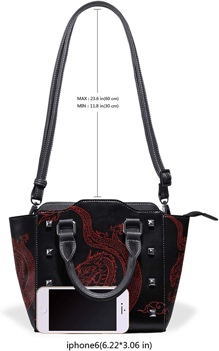 Chinese Style Cool Dragon Leather Purses Handbags Shoulder Tote Satchel Bags Womens
