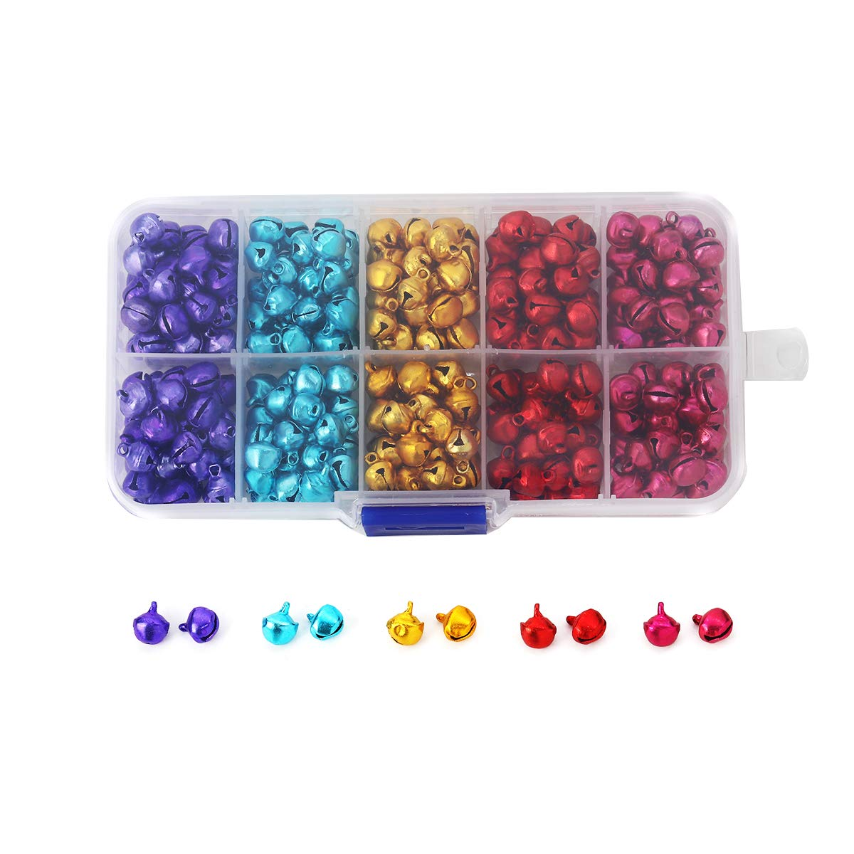 Houlife Aluminum Christmas Jingle Bells Small Bells Loose Beads Charms for Festival Decoration DIY Craft Jewelry Making Findings Approx 300pcs, 9x8mm, 5 Colors Aohao